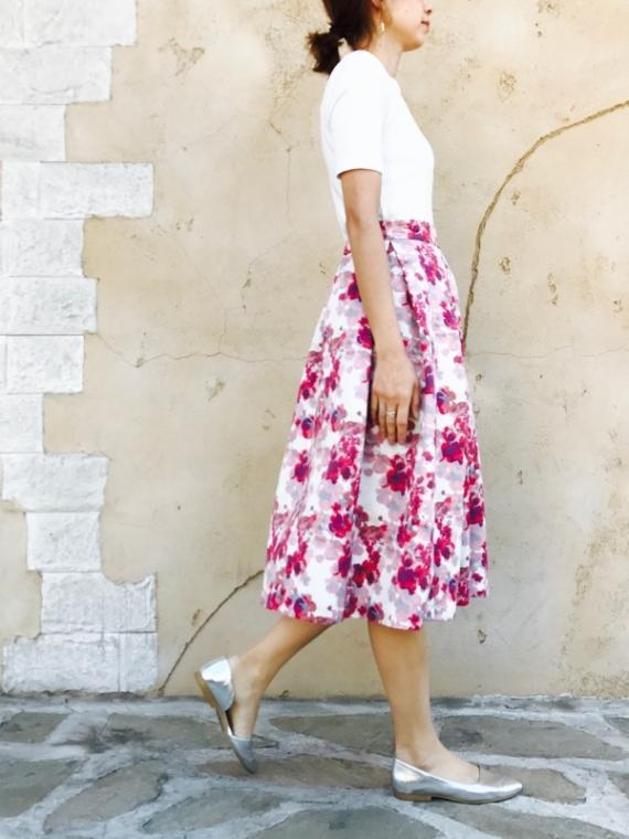 KAENE(カエン)  花柄オリジナルプリントスカート