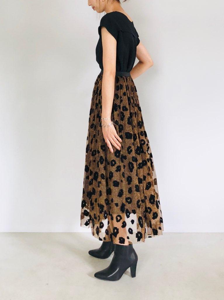 KAENE(カエン)  フロッキーレオパードチュールスカート