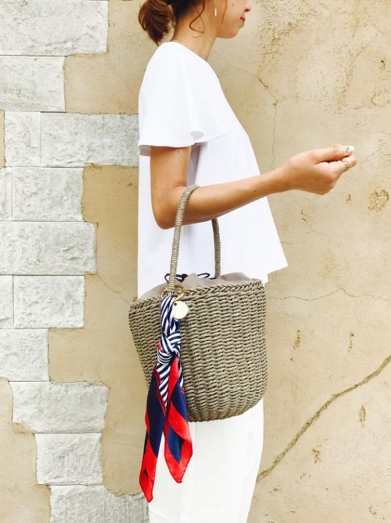 cachecache(カシュカシュ)  スカーフ付きペーパーバケツ型かごバッグ