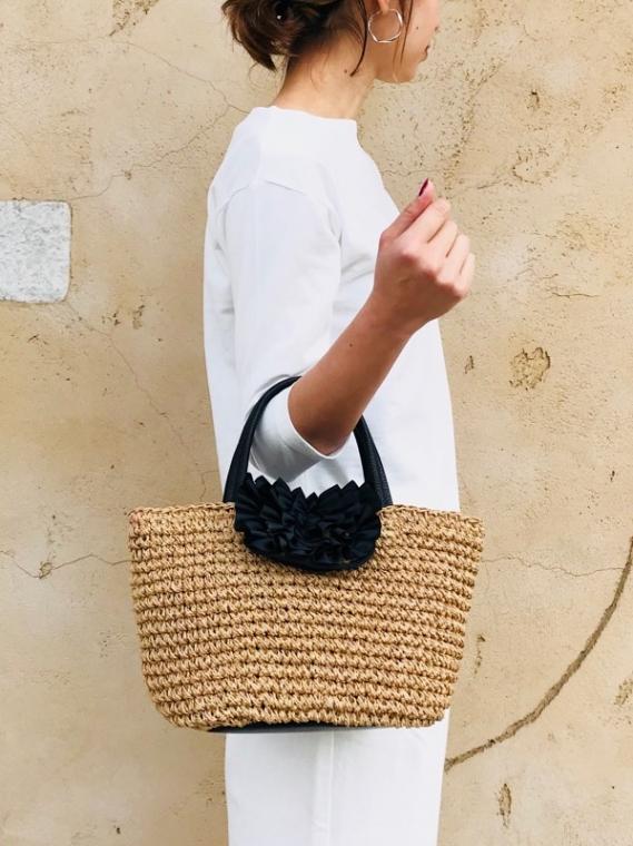 cachecache(カシュカシュ)  フリルフラップ手編みかごバッグ