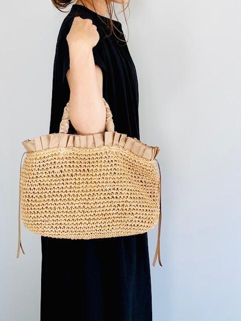 SELECT(セレクト) ペーパー手編みフリルトートバッグ BEIGE