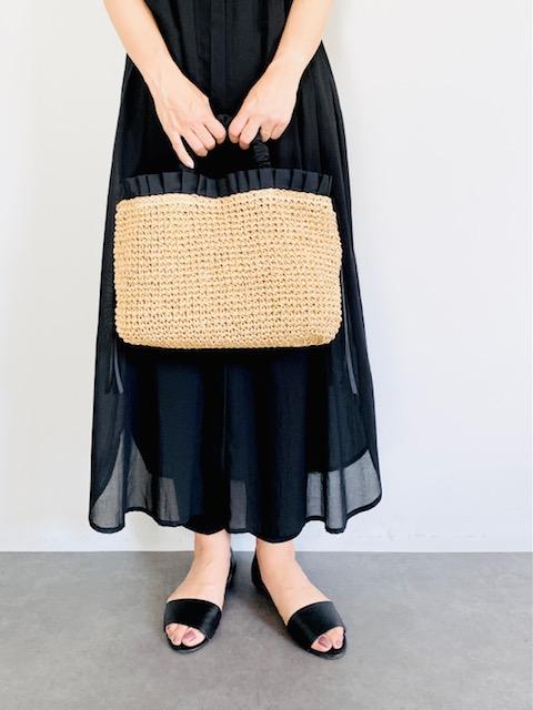 SELECT(セレクト) ペーパー手編みフリルトートバッグ BLACK