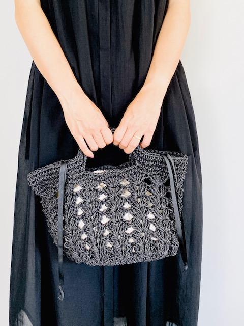 SELECT(セレクト) 松葉編みトートバッグ BLACK