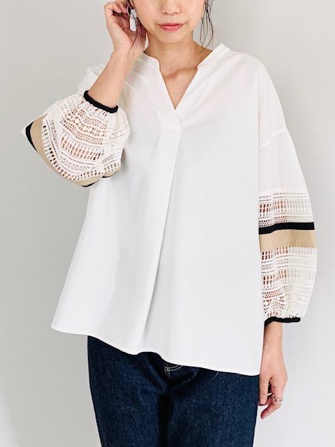 SELECT(セレクト)  袖レーススキッパーシャツ