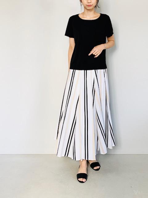 SELECT(セレクト)  ウエストリブストライプロングスカート