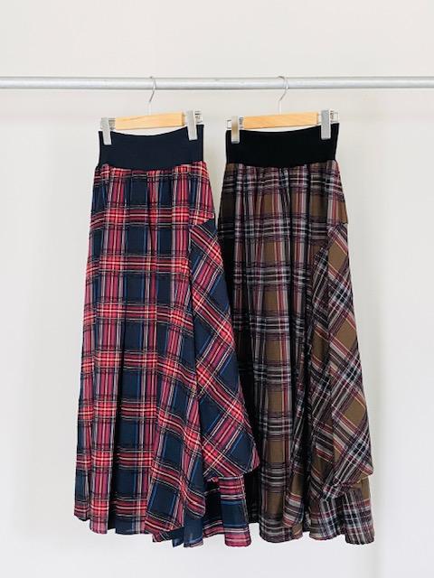 SELECT(セレクト)  アシンメトリーチェックロングスカート