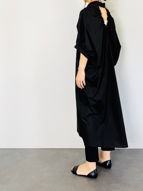SELECT(セレクト) バックリボンギャザーシャツワンピース BLACK