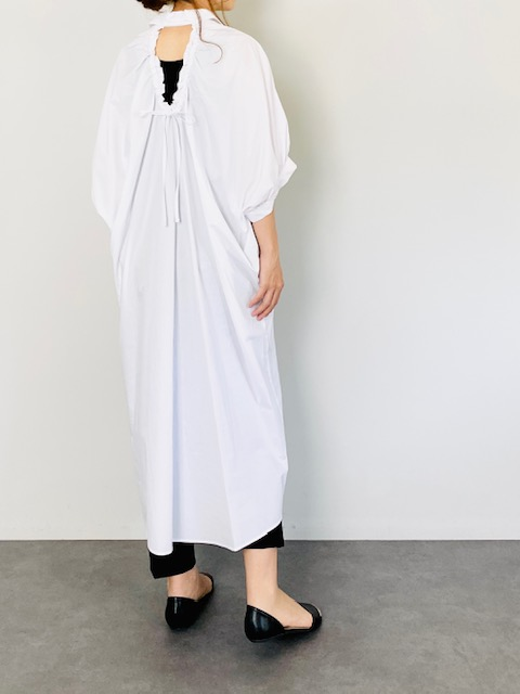 SELECT(セレクト) バックリボンギャザーシャツワンピース WHITE