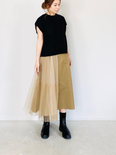SELECT (セレクト)  異素材アシンメトリースカート  BEIGE