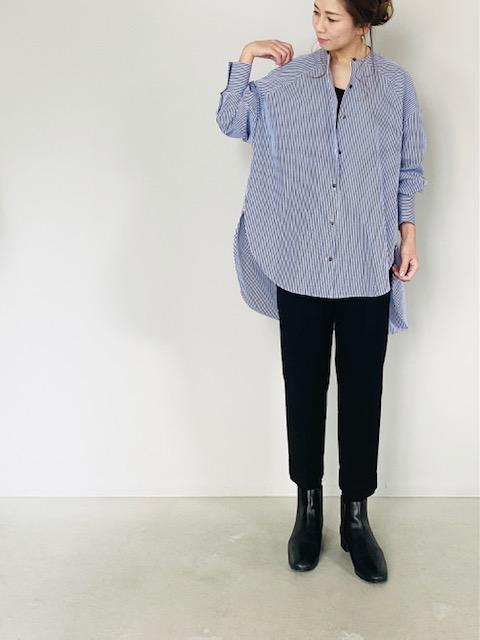 SELECT(セレクト)  バンドカラーロングシャツ  STRIPE