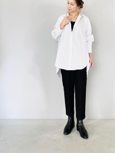 SELECT(セレクト)  バンドカラーロングシャツ  WHITE