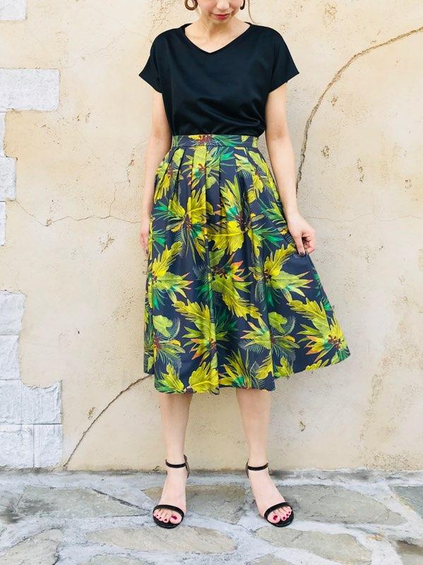 SELECT(セレクト)  フラワープリント タックフレアースカート
