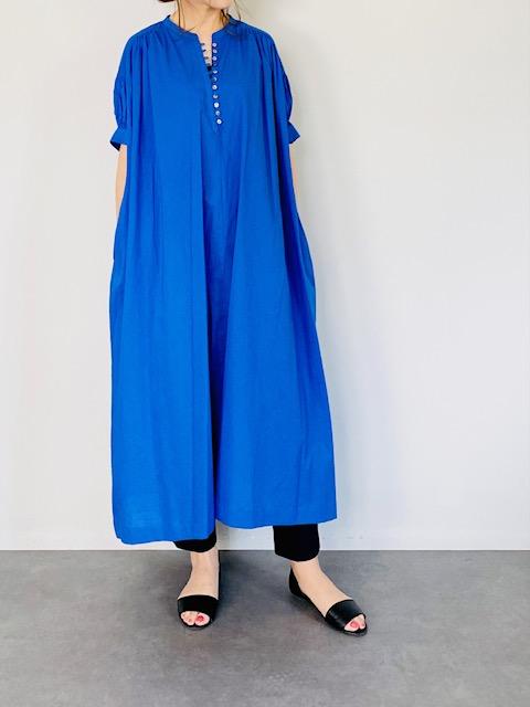 SELECT(セレクト) スタンドカラー 半袖ギャザーワンピース  BLUE
