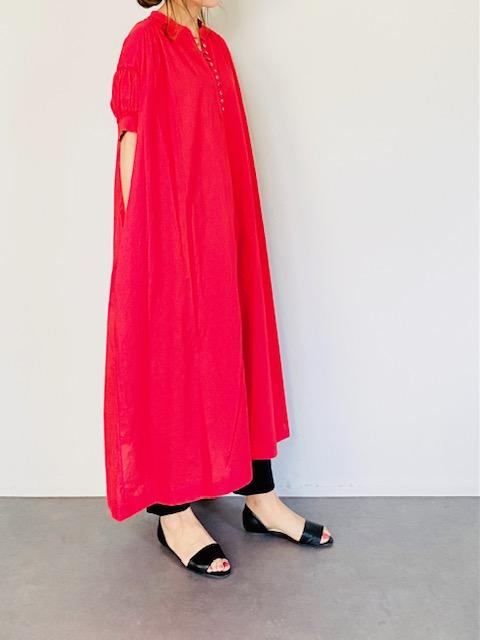 SELECT(セレクト) スタンドカラー 半袖ギャザーワンピース  RED