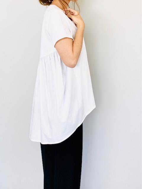 SELECT(セレクト) 異素材バックギャザー半袖プルオーバー  WHITE