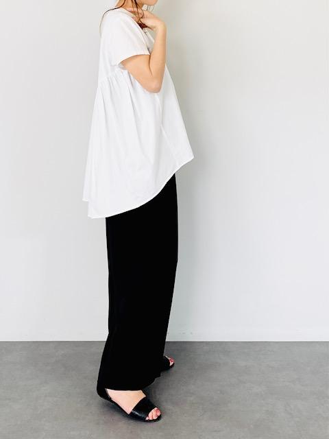SELECT(セレクト) バックギャザー半袖ブラウス  WHITE