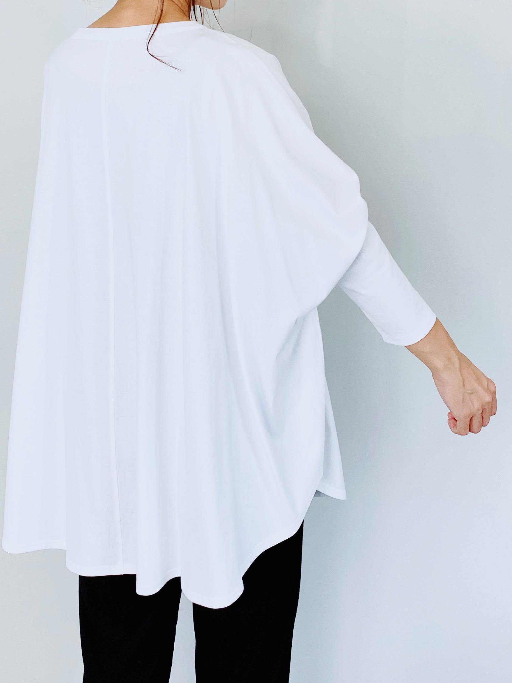 SELECT(セレクト) ワイドポンチョロングTee  WHITE