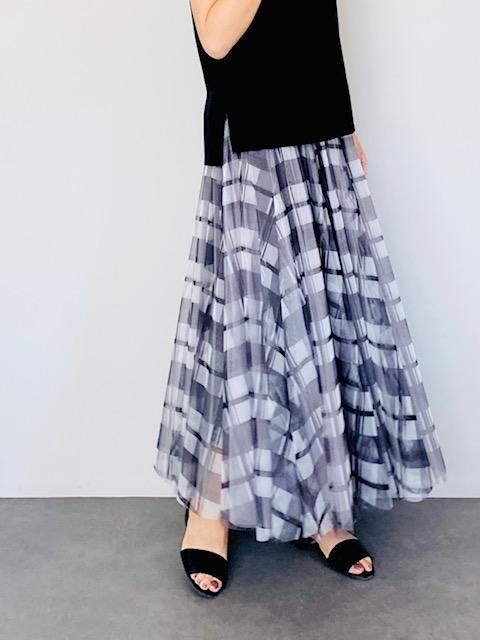 SELECT(セレクト) チェックエアリーロングスカート