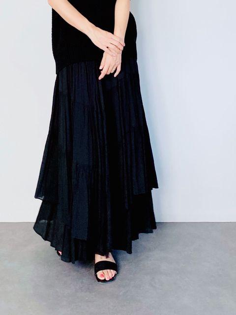 SELECT(セレクト) アシメティアードスカート  BLACK