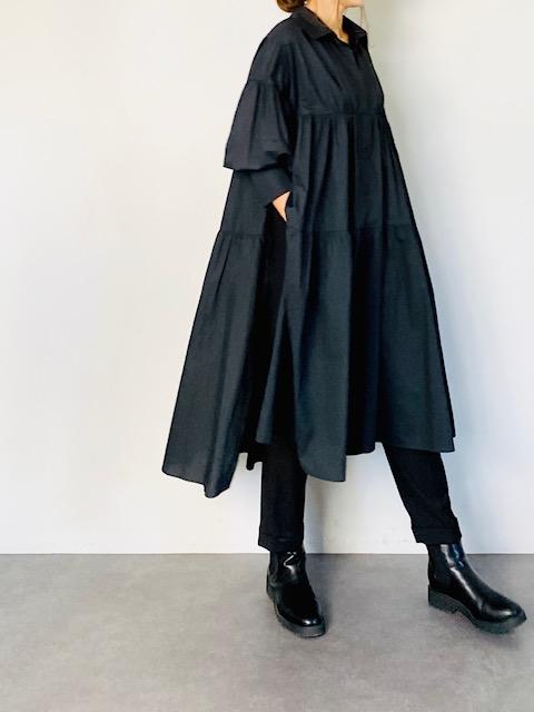 SELECT(セレクト) ティアードシャツワンピース  BLACK
