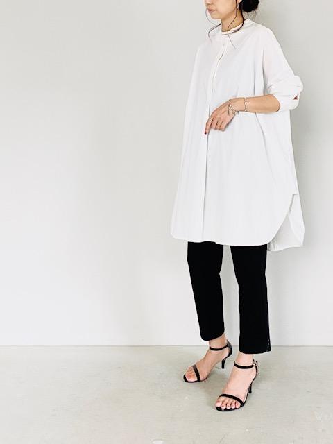 SELECT(セレクト)  ストレッチブロード ノーカラーバックタックシャツ WHITE