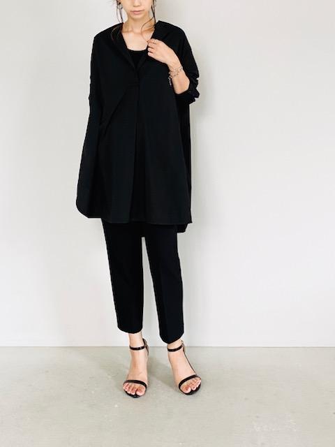 SELECT(セレクト)  ストレッチブロード ノーカラーバックタックシャツ BLACK