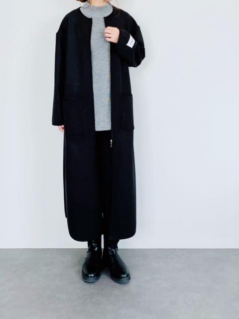 SHES(シーズ) ノーカラーパイピングロングコート  BLACK