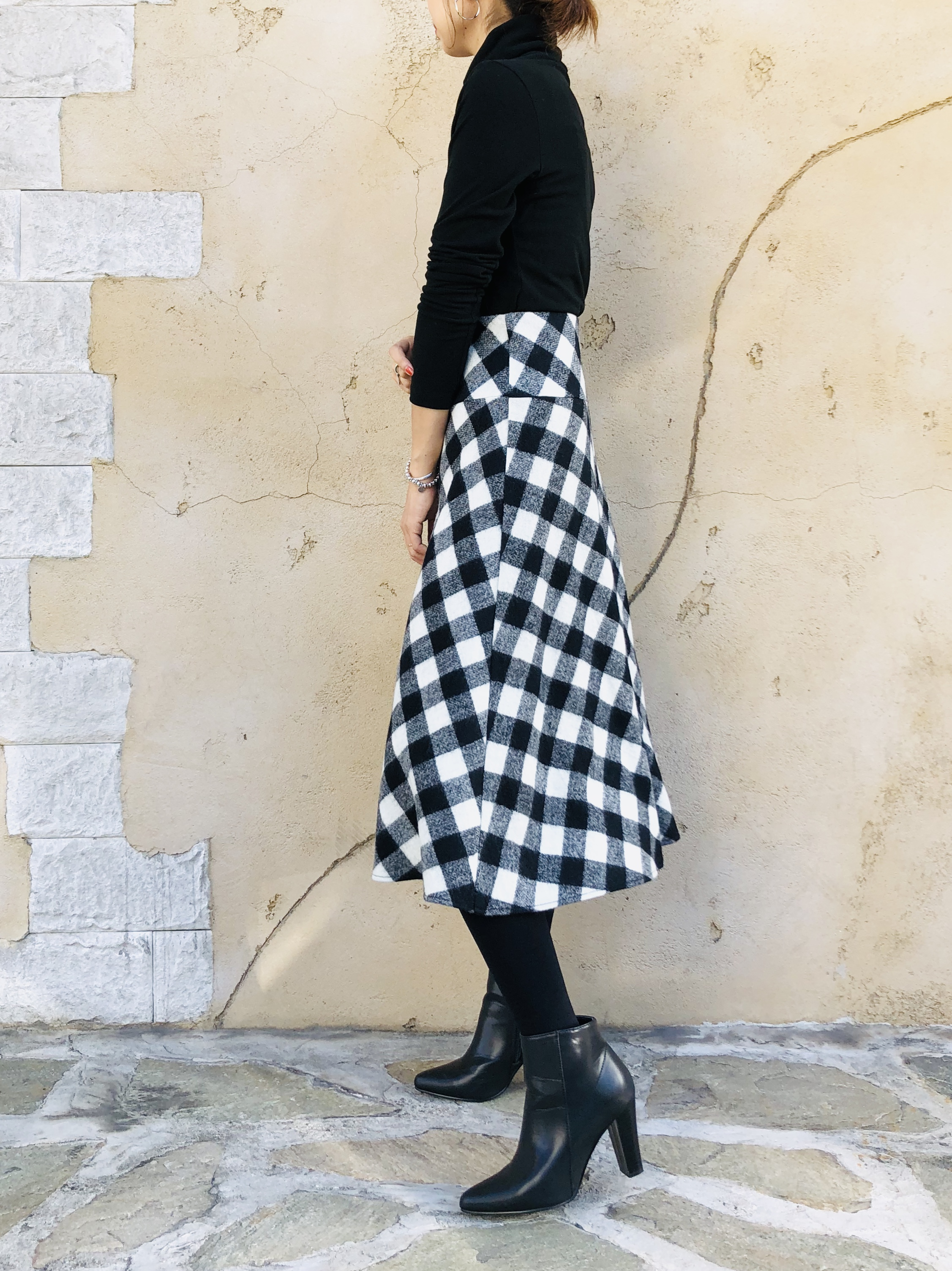 SELECT(セレクト)  ギンガムチェックウールフレアースカート