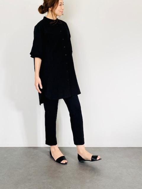 SELECT(セレクト) リネンスタンドカラーワイドシャツ BLACK