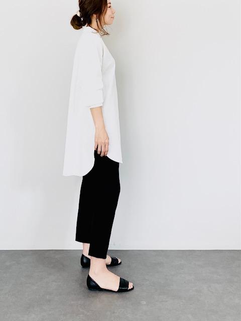 SELECT(セレクト) リネンスタンドカラーワイドシャツ WHITE