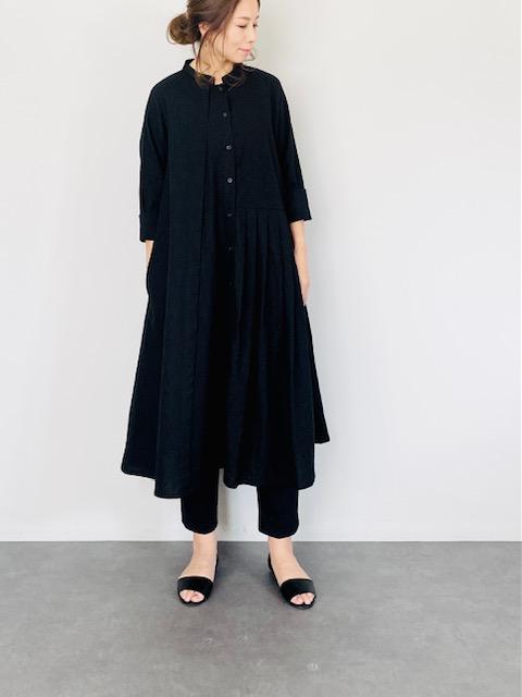 SELECT(セレクト) プリーツ キリカエ シャツ ワンピース BLACK