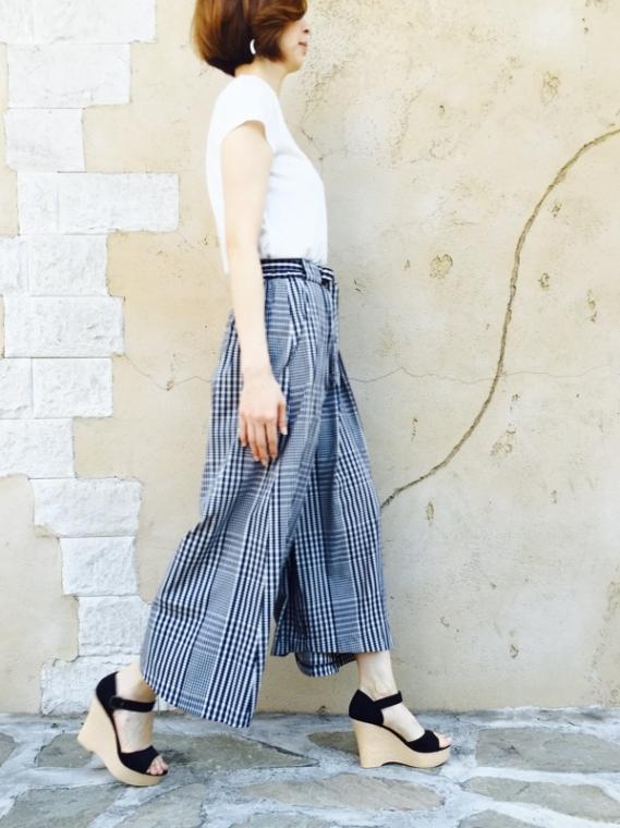 Haru's Ami(ハルズアミ)  変形コットンチェック パンツ
