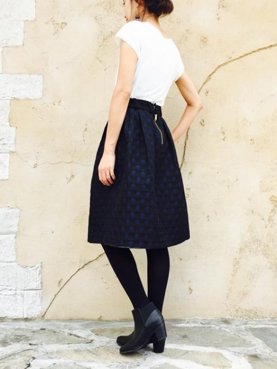 Haru's Ami(ハルズアミ)  ドットジャガードリバーシブルスカート