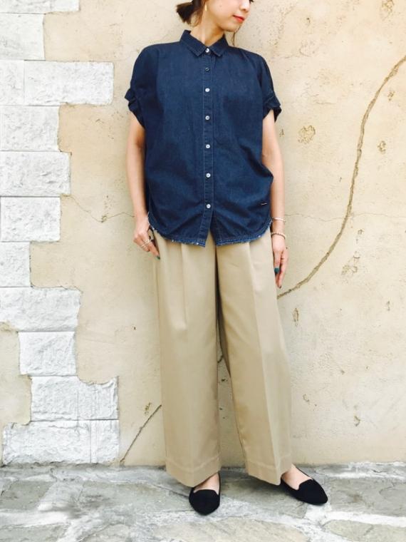 Haru's Ami (ハルズアミ)  袖タック重ねBACKタックタイプライターデニム半袖シャツ