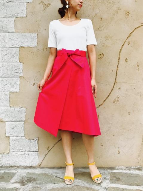 PASSIONE(パシオーネ)  リボン付きラップフレアースカート