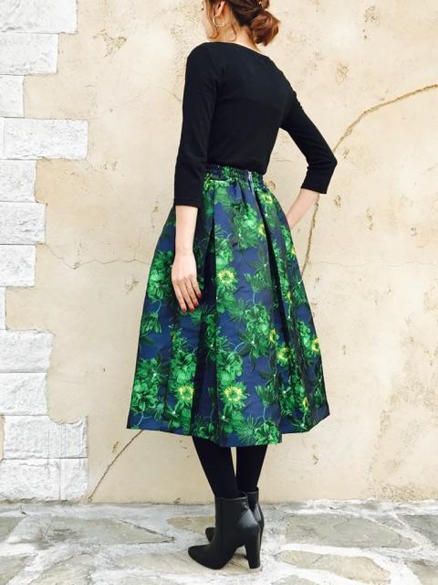 le chanter(ルシャンテ)  花柄ジャガードタックフレアースカート