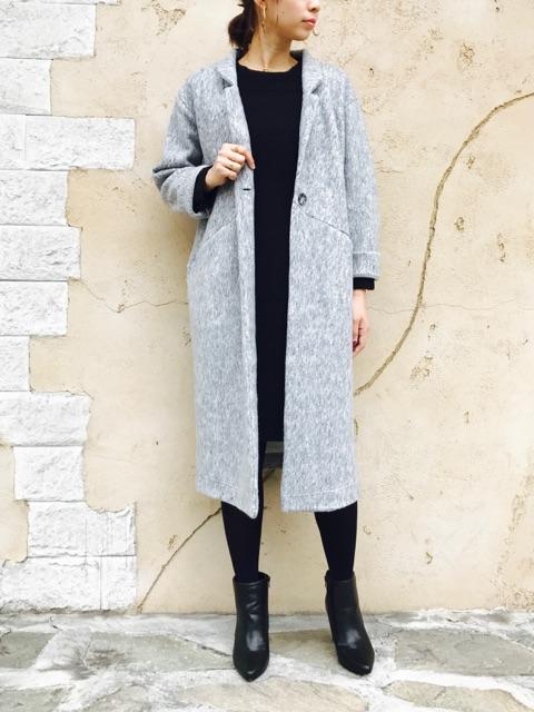 SELECT(セレクト)  合皮ベルト付きロング丈コート