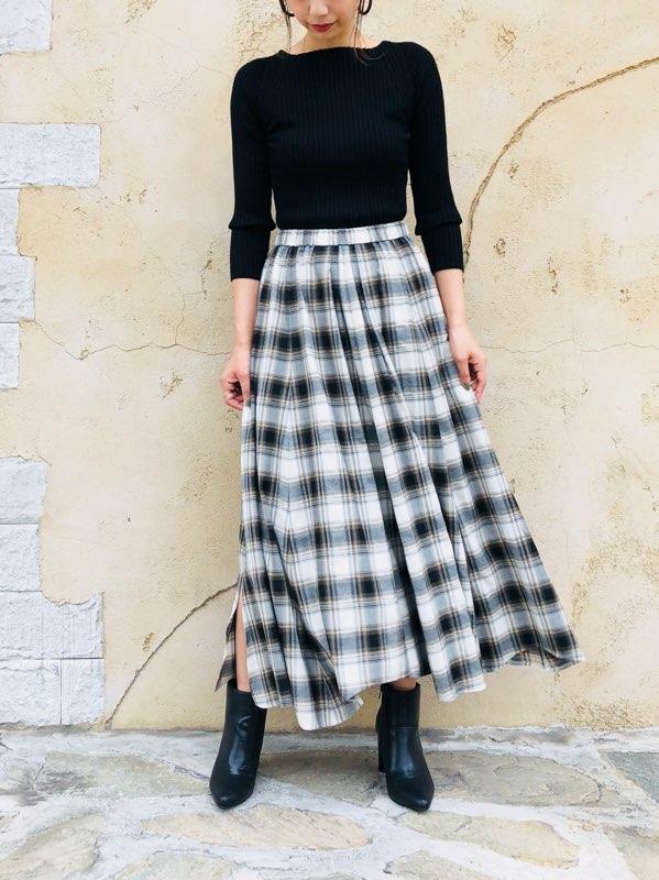 SELECT(セレクト)  チェック柄サイドスリットロングスカート