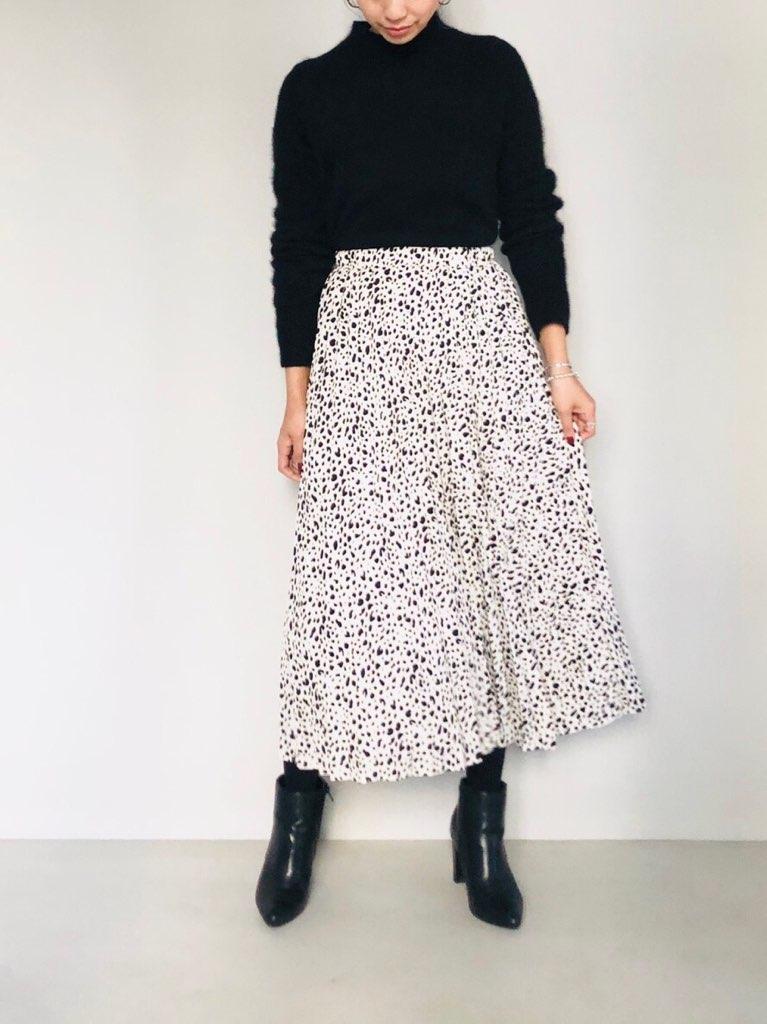 SELECT(セレクト)  ダルメシアンプリントプリーツスカート