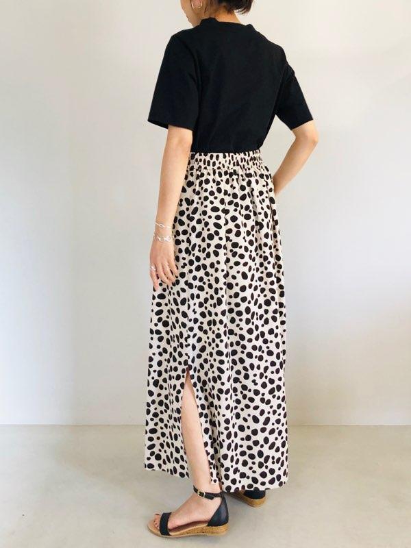 SELECT(セレクト)  ダルメシアン柄フレアロングスカート