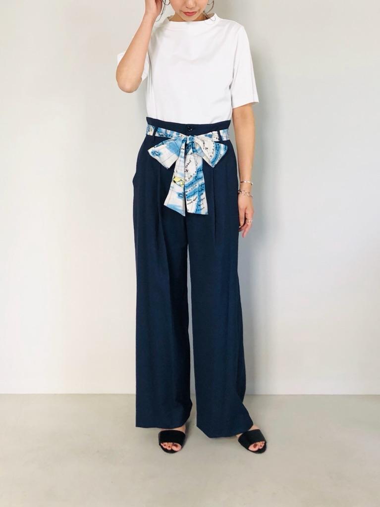 SELECT(セレクト)  ハイウエストスカーフ付ワイドパンツ