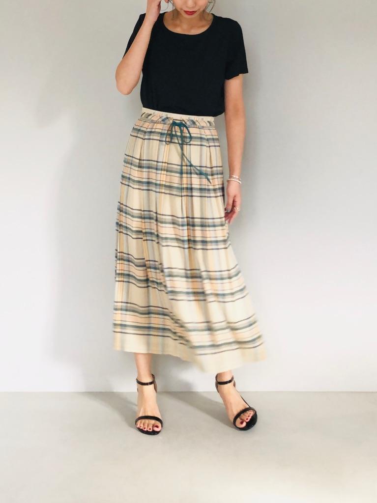 SELECT(セレクト)  チェック柄タックロングスカート