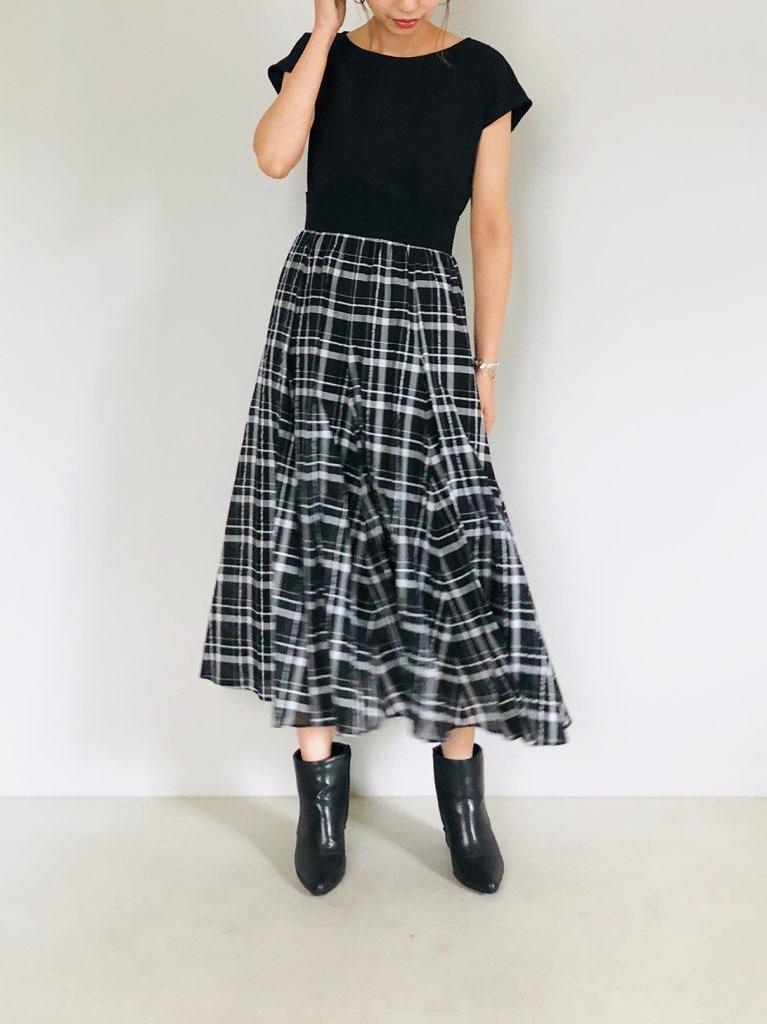 SELECT(セレクト)  ウエストリブチェックロングスカート