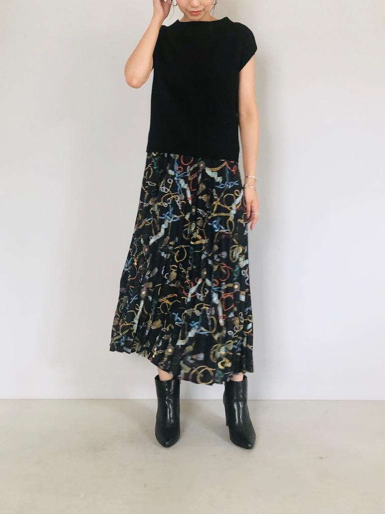 SELECT (セレクト)  ロープ柄スカーフプリントリブスカート