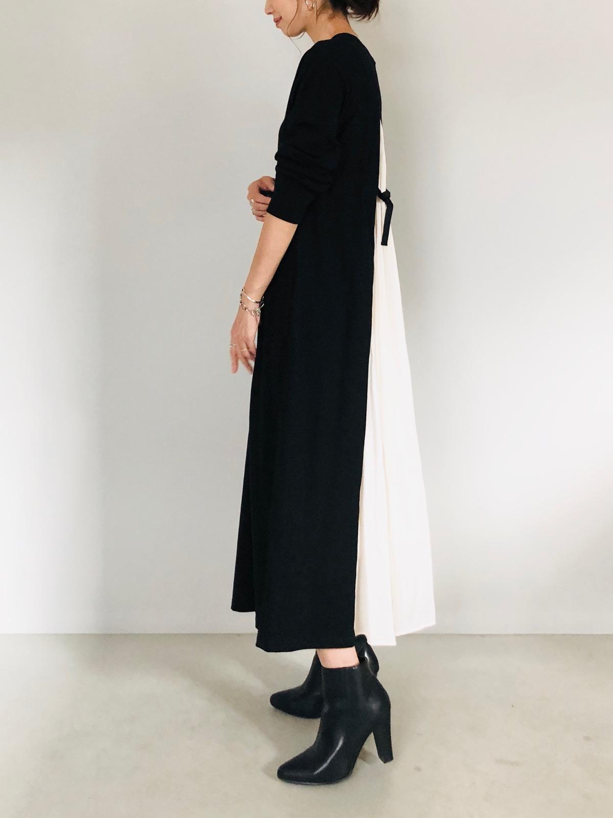 SELECT(セレクト) 長袖異素材バックサテンカットロングワンピース
