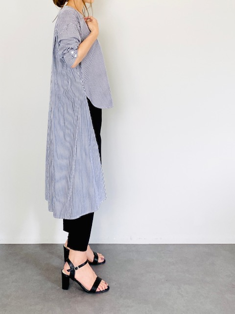 SELECT(セレクト) ストライプVネックデザインシャツ BLACK