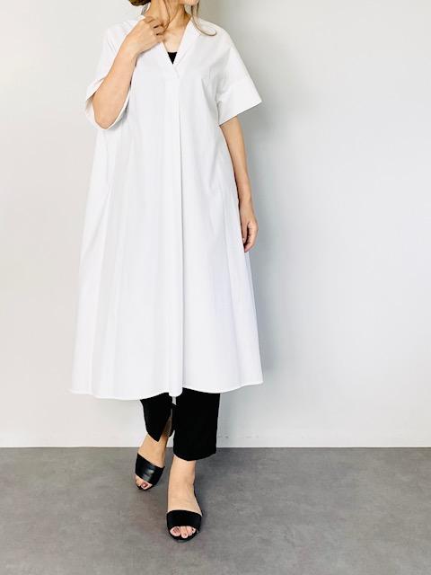 SELECT(セレクト) 半袖スキッパーシャツワンピ  WHITE