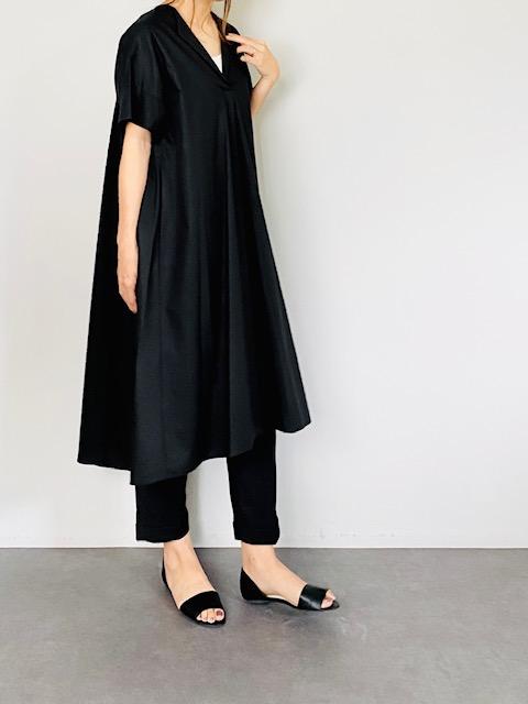 SELECT(セレクト) 半袖スキッパーシャツワンピ  BLACK