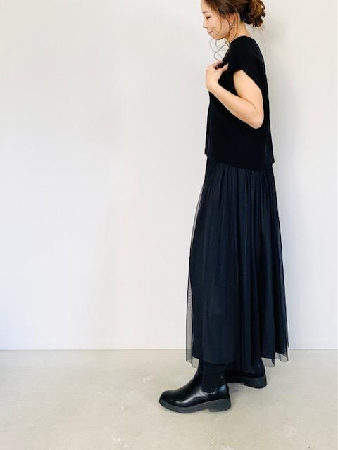 SELECT (セレクト)  リバーシブルチュールスカート  BLACK