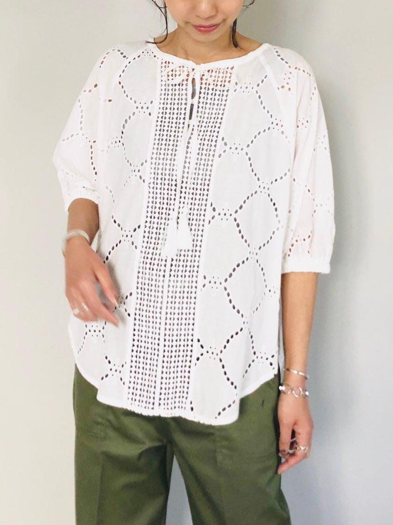 SELECT(セレクト)  半袖コットンレースドルマンシャツ